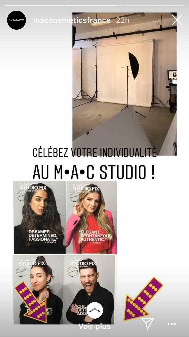 Publication réseaux sociaux Événement M.A.C Cosmetics